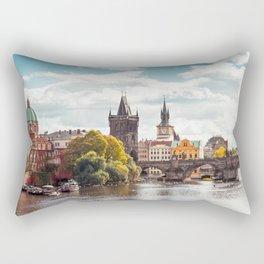 Historic Charles Bridge Vltava River Prague Amazing Cityscape Czech Republic Europe Ultra HD Rectangular Pillow