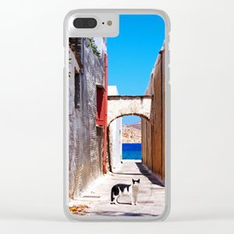 Greek village kitty Clear iPhone Case