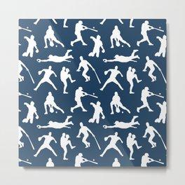 Baseball Players // Navy Metal Print