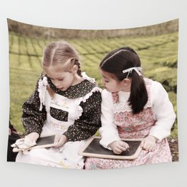Young girls doodling Wall Tapestry