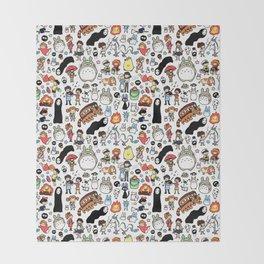 Kawaii Ghibli Doodle Throw Blanket