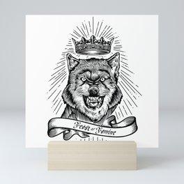 """Feast Or Famine"" – Crowned Wolf Mini Art Print"