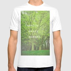 Enjoy Every Moment MEDIUM White Mens Fitted Tee