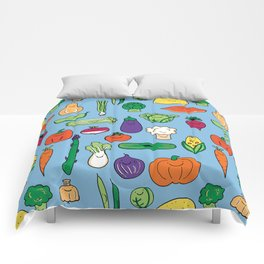 Cute Smiling Happy Veggies on blue background Comforters