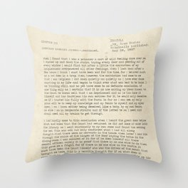 Dracula by Bram Stoker Chapter 3 - public domain book. Throw Pillow