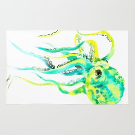 Turquoise Green Octopus Rug