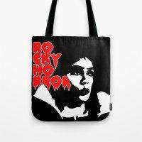 rocky horror Tote Bags featuring Rocky Horror Fan Art by Maira Artwork