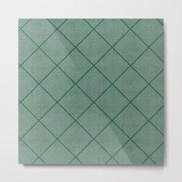 Stitched Diamond Geo Grid in Green Metal Print