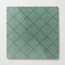 Stitched Diamond Geo Grid in Green Metal Print