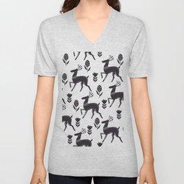 black white deer Unisex V-Neck