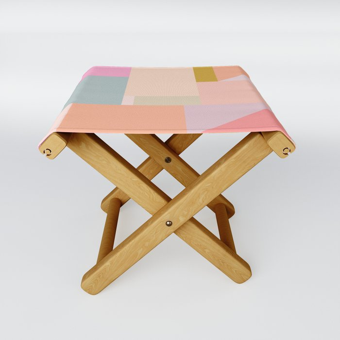 Pastel Geometric Graphic Design Folding Stool