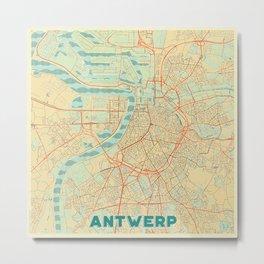 Antwerp Map Retro Metal Print