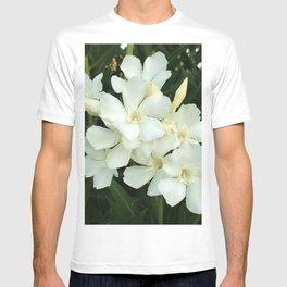 Tropical Ivory-White Flowers Framed By  Shadowy Leaves T-shirt