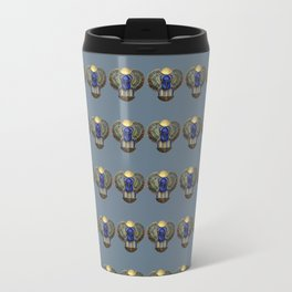 Egyptian Beetle Pattern (blue/grey) Travel Mug