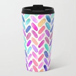 Rainbow Herringbone Watercolor Oblongs Travel Mug