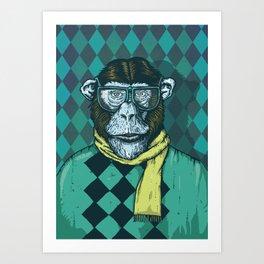 Hipster Chimp Portrait Art Print