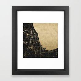 Chicago Black and Gold Street Map Framed Art Print
