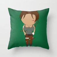 lara croft Throw Pillows featuring Minimalist lara croft by Monkey graphisme