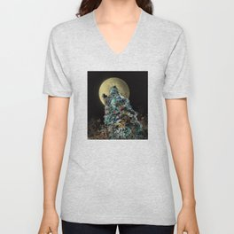 floral animals howling wolf Unisex V-Neck