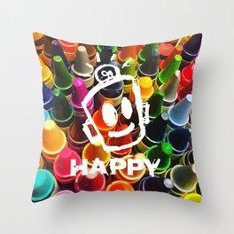 Crayon HAPPY Throw Pillow