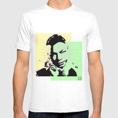 Nat King Cole White Mens Fitted Tee MEDIUM