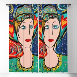 Pop Girl Art Deco with Hat and hearts Blackout Curtain