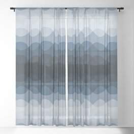Mid Tone Ocean Blue Overlapping Wavy Line Pattern Pairs To 2020 Color of the Year Chinese Porcelain Sheer Curtain