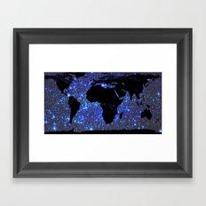 World Map : Blue Galaxy Stars Framed Art Print
