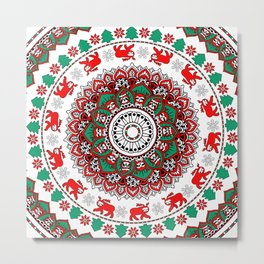Mandala Christmas Sloth Metal Print