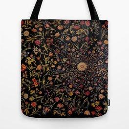 Medieval Flowers on Black Tote Bag