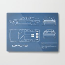 The Delorean DMC-12 Blueprint Metal Print
