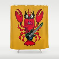 lobster Shower Curtains featuring ROCK LOBSTER by CincottaStore
