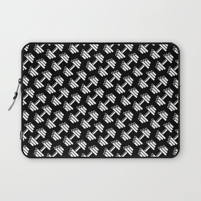 Dumbbellicious inverted / Black and white dumbbell pattern Laptop Sleeve