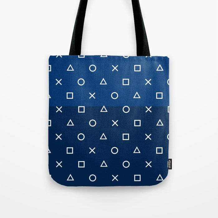 Playstation Controller Pattern Navy Blue Tote Bag