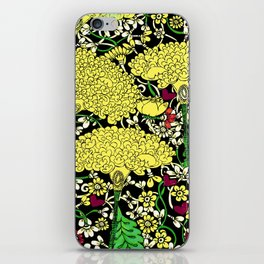 YELLOW & BLACK FLORAL FRIVOLITY FANTASY GARDEN iPhone Skin