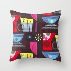 retro on chocolate Throw Pillow