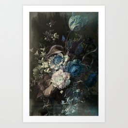 Shabby, classy, pastel blue floral Art Print