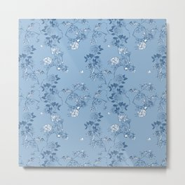Chinoiserie in China Blue Metal Print
