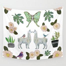 Llama and Luna Moth Wall Tapestry