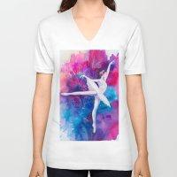 ballerina V-neck T-shirts featuring Ballerina by Slaveika Aladjova