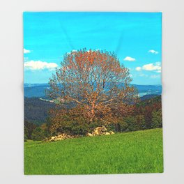 Lonely old tree in springtime scenery Throw Blanket