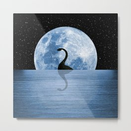 Nessie Starry Night - Loch Ness Monster Metal Print