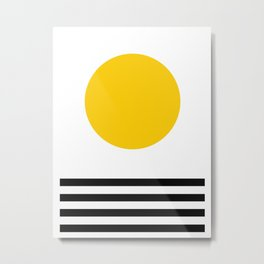 Midcentury Yellow Minimalist Sunset With Black Stripes Metal Print