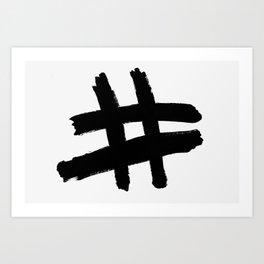Hashtag black Art Print