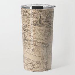 Vintage Pictorial Map of Oxford England (1850) Travel Mug