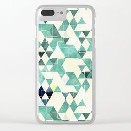 Abstract Green Triangles, Watercolor Pattern Clear iPhone Case