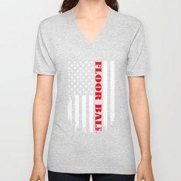 Patriotic Floor Ball Player - Flag Unisex V-Neck
