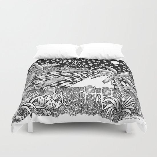 Sailboat Night at Sea - Black and White Zentangle Illustration Duvet Cover