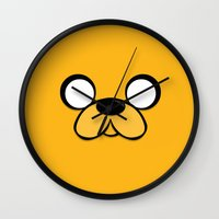 jake Wall Clocks featuring Jake by Expired Kimchi