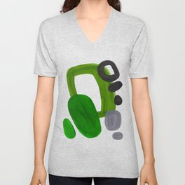 Mid Century Vintage 70's Design Abstract Minimalist Colorful Pop Art Olive Green Dark Green Grey Unisex V-Neck